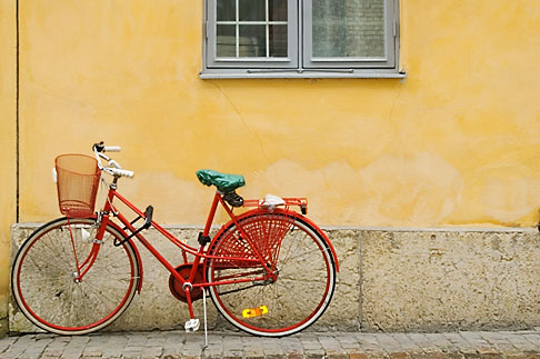 image 5-700-2032 Sweden, Goteborg, Bicycle leaning against wall