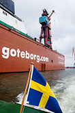 flag stock photography | Sweden, G�teborg, Container ship in harbor, image id 5-700-2128