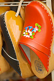 wooden clog stock photography | Sweden, Red clogs, image id 5-700-4778