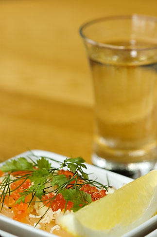 image 5-700-5091 Swedish food, Bleak roe and aquavit