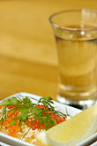vertical stock photography | Swedish food, Bleak roe and aquavit, image id 5-700-5091