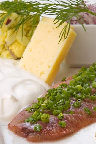 image 5-700-5293 Swedish food, Herring, cheese and onions