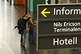 interior stock photography | Sweden, G�teborg, Train station sign, image id 5-700-5819