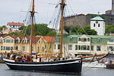 mooring stock photography | Sweden, Marstrand, Harbor and Carlsten Fortress, image id 5-710-5341