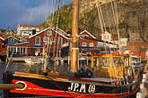 town stock photography | Sweden, Fjallbacka, Fishing boat in harbor, image id 5-710-5524