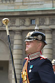 head covering stock photography | Sweden, Stockholm, Band leader, Changing of the guard, image id 5-720-3155