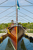 water stock photography | Sweden, Gustavsberg, Historic wooden boat, image id 5-720-3873