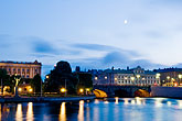 architecture stock photography | Sweden, Stockholm, River at night, image id 5-720-4232