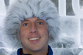fur cap stock photography | Sweden, Stockholm, Absolut Ice Bar, image id 5-720-6924