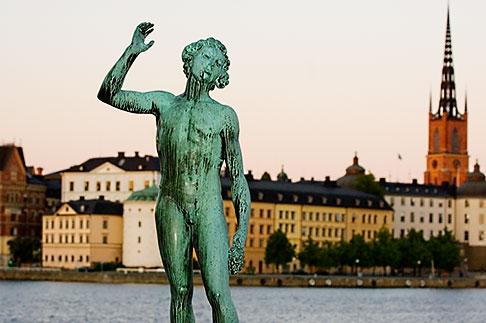 image 5-720-7850 Sweden, Stockholm, Song statue, Stadshuset, bronze by Carl Eldh