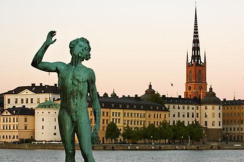 image 5-720-7851 Sweden, Stockholm, Song statue, Stadshuset, bronze by Carl Eldh