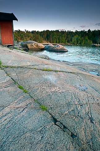 image 5-730-3386 Sweden, Grinda Island, Rocks and boathouse