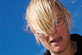 one person stock photography | Sweden, Grinda Island, Woman with windblown hair, image id 5-730-3462