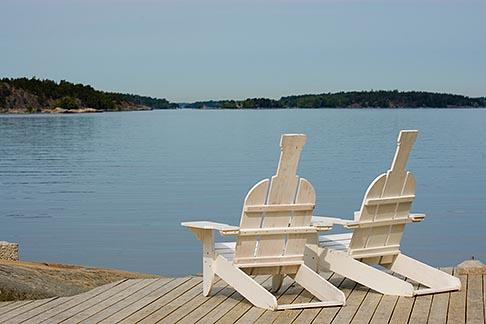 image 5-730-6584 Sweden, Grinda Island, Adirondack chairs
