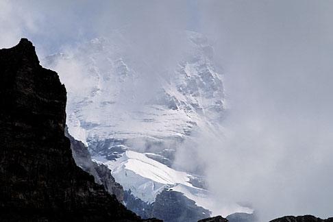 image 2-100-36 Switzerland, Alps, Monch glacier through the mist