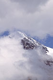 blue stock photography | Switzerland, Alps, Summit of the M�nch through the mist, image id 2-102-31