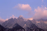 alps stock photography | Switzerland, Bergell, Sunset on peaks above Lake Albigna, image id 2-94-12