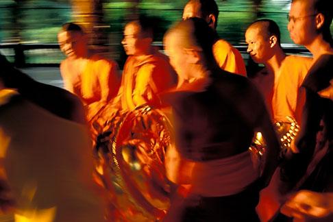 image 0-381-80 Thailand, Chiang Mai, Monks and Golden Buddha, Wat Suan Dok