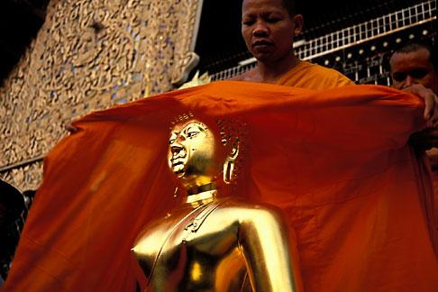 image 0-381-81 Thailand, Chiang Mai, Monk and Golden Buddha, Wat Suan Dok