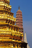 temple building detail stock photography | Thailand, Bangkok, Gilt pagoda at Wat Pra Keo, image id 4-194-14