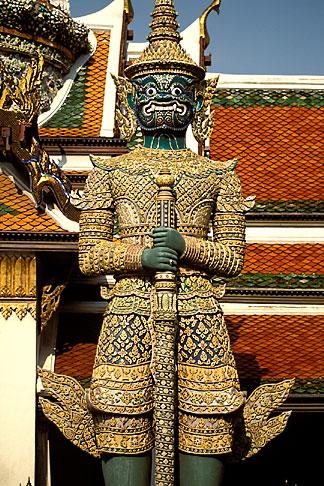 image 4-194-35 Thailand, Bangkok, Statue of a yaksha demon, Wat Pra Keo