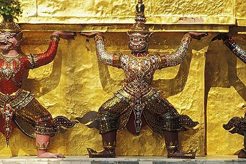 image 4-194-67 Thailand, Bangkok, Statues of yakshas at Wat Pra Keo