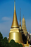 temple building detail stock photography | Thailand, Bangkok, Gilt pagoda of Chedi Pra Si Ratana at Wat Pra Keo, image id 4-198-17