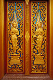 decorated door stock photography | Buddhist Art, Door, Wat Cha Long, image id 7-530-20