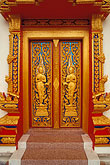vertical stock photography | Thailand, Phuket, Door, Wat Cha Long, image id 7-530-23