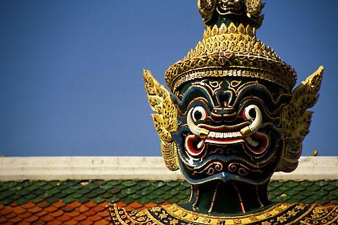 image S3-101-1 Thailand, Bangkok, Statue of a yaksha demon, Wat Pra Keo