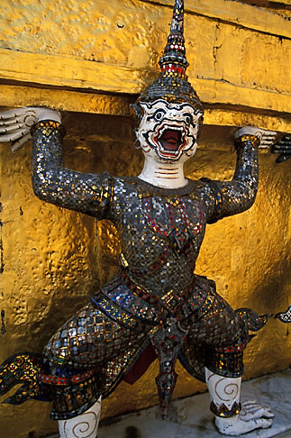 image S3-101-9 Thailand, Bangkok, Guard holding Golden Chedi, Wat Pra Keo