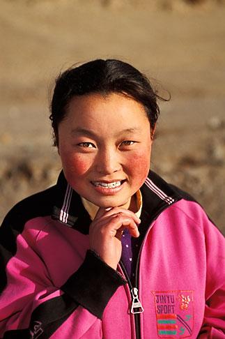 image 4-119-36 Tibet, Tibetan girl, Labrang Monastery, Xiahe