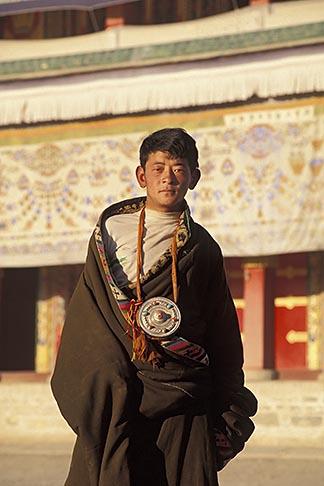 image 4-124-26 Tibet, Young Tibetan pilgrim, Labrang Monastery, Xiahe