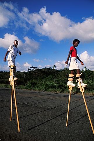image 8-62-26 Tobago, Children practising stilt walking for Carnival
