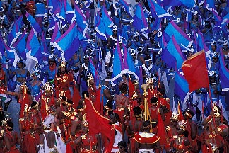 8-169-6 stock photo of Trinidad, Carnival, Mas band on stage