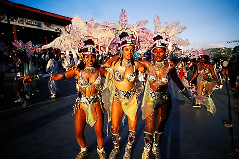 image 8-175-1 Trinidad, Carnival, Costumed dancers in parade