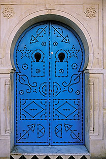 3-1100-1 stock photo of Tunisia, Sidi Bou Said, Painted doorway