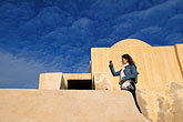 blue sky stock photography | Tunisia, Djerba, Tourist at Djerba fort, image id 3-1100-15