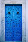 blue decorated doorway stock photography | Tunisia, Sidi Bou Said, Painted doorway, image id 3-1100-4