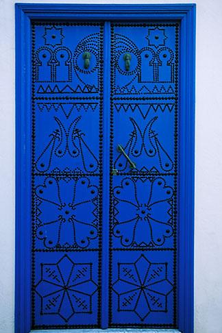 image 3-1100-5 Tunisia, Sidi Bou Said, Painted doorway