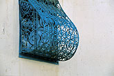 colorful building stock photography | Tunisia, Sidi Bou Said, Blue window grille, image id 3-1100-62