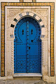 blue decorated doorway stock photography | Tunisia, Sidi Bou Said, Painted doorway, image id 3-1100-7