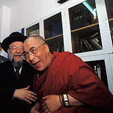 one person stock photography | Israel, Jerusalem, Dalai Lama and Chief Rabbi of Israel, image id 9-340-68