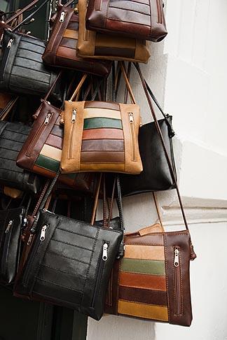image 8-802-4417 Uruguay, Colonia del Sacramento, Leather handbags in craft shop