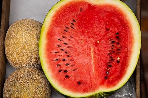 image 8-803-4709 Uruguay, Colonia del Sacramento, Watermelon in market stall