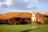 sunlight stock photography | Utah, St. George, Entrada at Snow Canyon Golf Course, 17th hole, image id 3-861-14