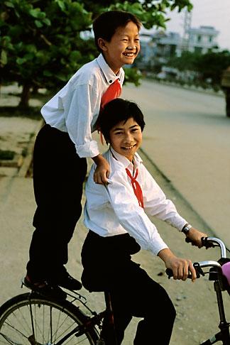 image S3-194-24 Vietnam, Dien Bien Phu, Children on bicycle