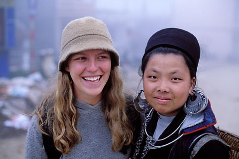 image S3-194-4 Vietnam, Sapa, Hill Tribe Vendor and Tourist