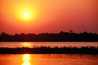 7-399-26 stock photo of Zimbabwe, Zambezi NP, Sunset on the Zambezi River