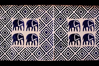 7-403-6 stock photo of Zimbabwe, Zambezi NP, Matetsi Water Lodge, bathroom tile detail